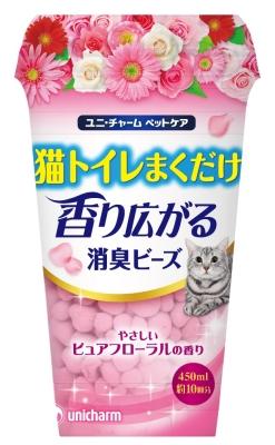 ユニ・チャ-ム 猫トイレまくだけ 香り広がる消臭ビ-ズ やさしいピュアフロ-ラルの香り 450ml