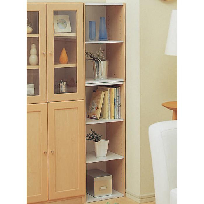 【組立式】IRIS(アイリスオーヤマ) スペースユニット 3段 UB-9015 ホワイト/ライトメープル 木製家具 隙間家具 多目的棚
