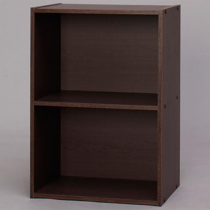 【組立式】IRIS(アイリスオーヤマ) CBボックス 2段 CX-2 ブラウンオーク ベーシックタイプ 木製家具 カラーボックス