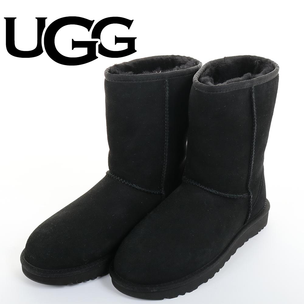 UGG(アグCLASSICMINIII1016223BKブラックムートンブーツクラシックショートWOMENSレディース8(25cm