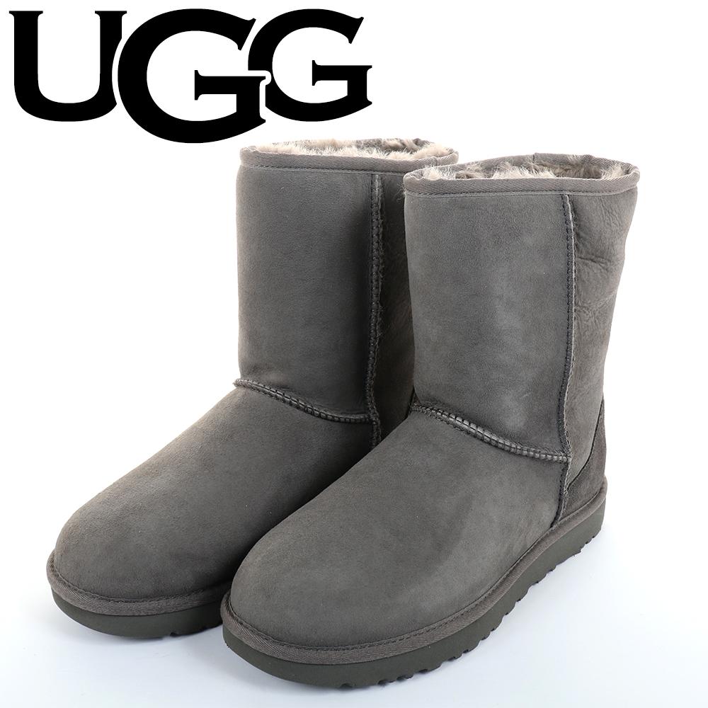 UGG(アグCLASSICMINIII1016223GRAYグレームートンブーツクラシックショートWOMENSレディース5(22cm