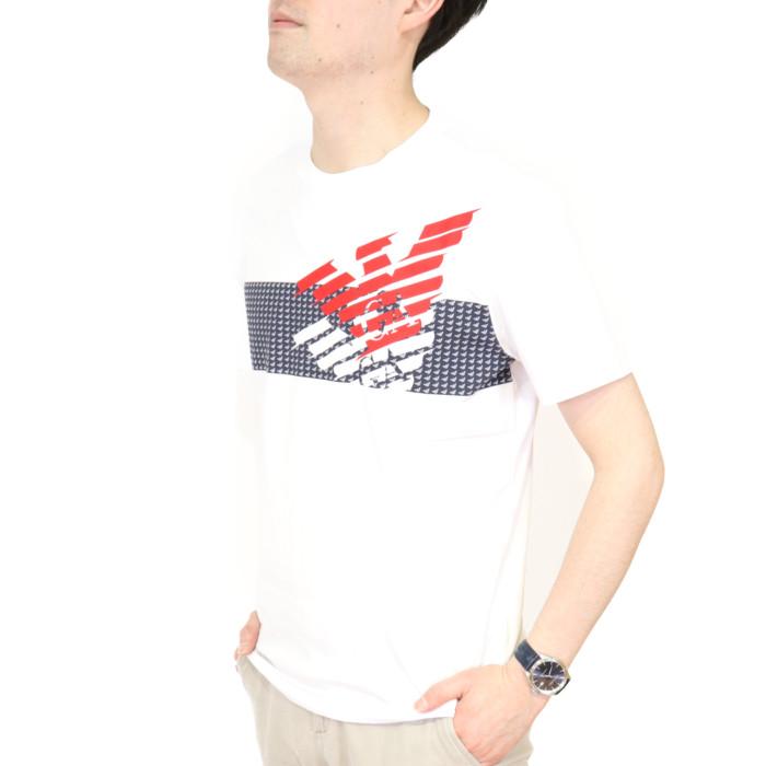 イーエーセブン EA7 メンズ クルーネック半袖Tシャツ 3HPT49  ホワイト【WH】2020sstshirtsco