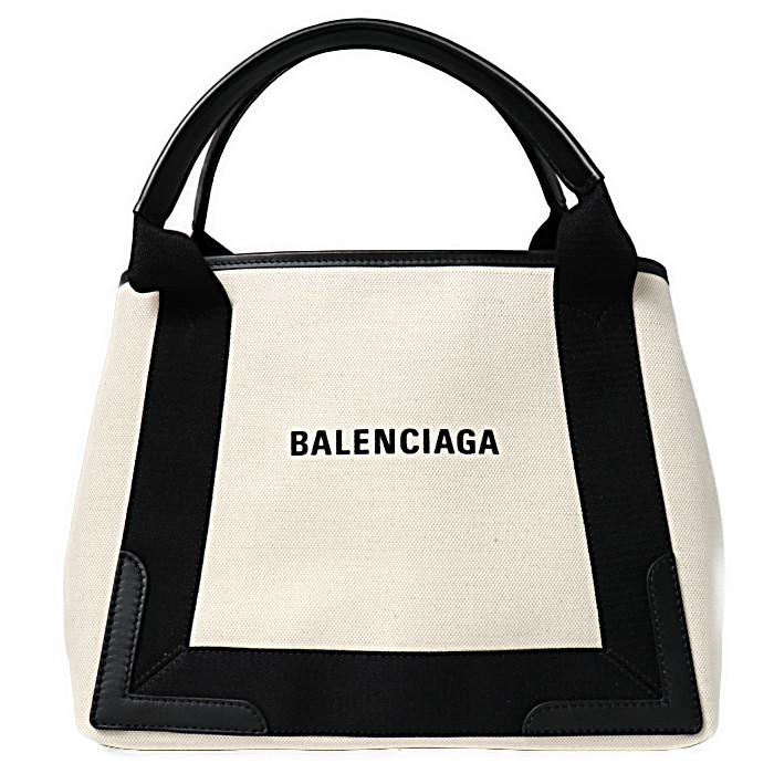 バレンシアガ BALENCIAGA トートバッグ NAVY CABAS 339933 AQ38N 1081 ナチュラル ブラック レディース