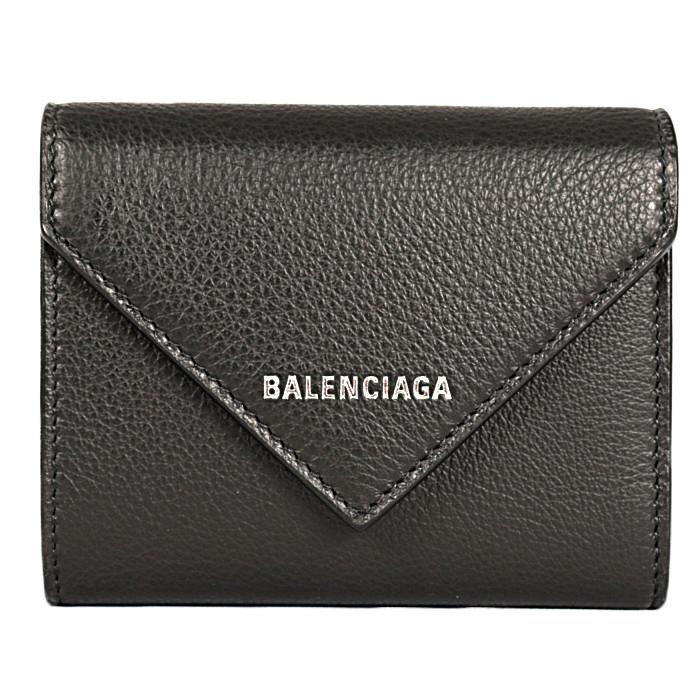 バレンシアガBALENCIAGA小銭入れ付き三つ折り財布PAPIERCOMP615653DLQ0N1000ブラックメンズレディース