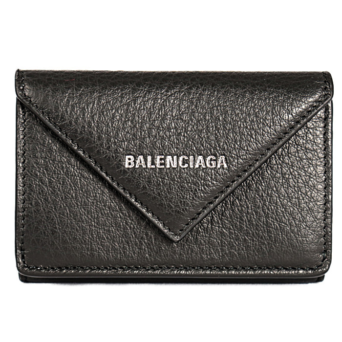 バレンシアガ小銭入れ付き三つ折り財布PAPERZAMINIWALLET391446DLQ0N1000ブラックメンズレディース