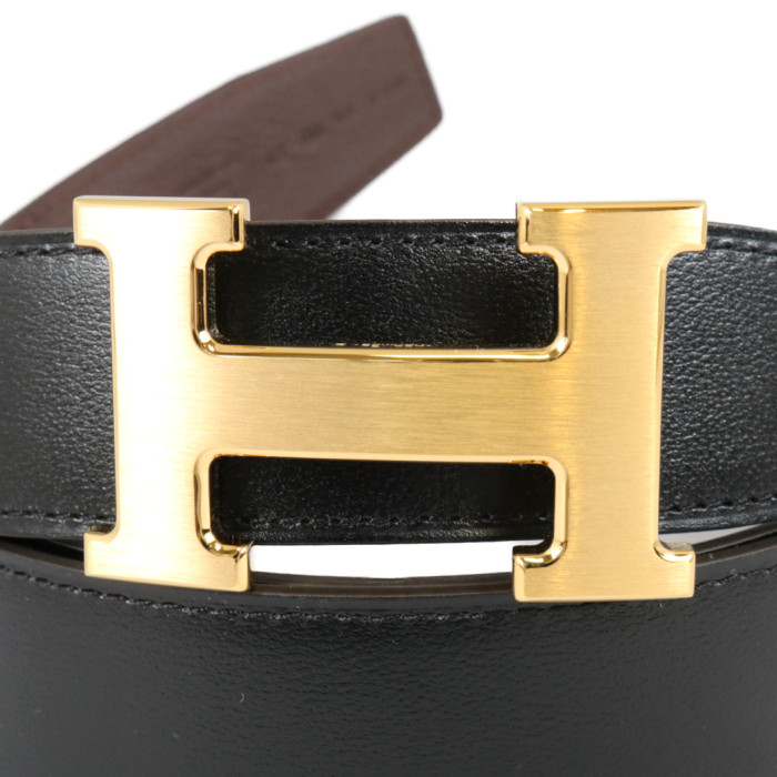 エルメスHERMESリバーシブルベルトブラックショコラゴールド金具ボックスカーフトゴ95cmメンズ