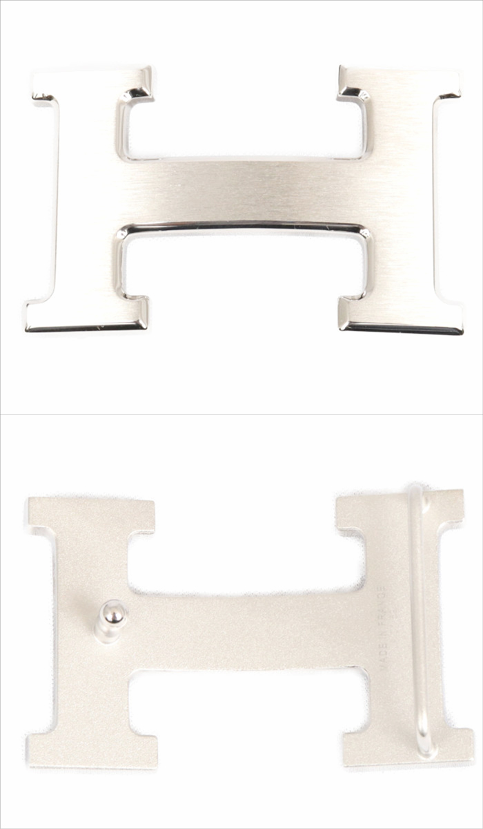 エルメスHERMESリバーシブルベルトブラックゴールドシルバー金具ボックスカーフトゴ105cmメンズ