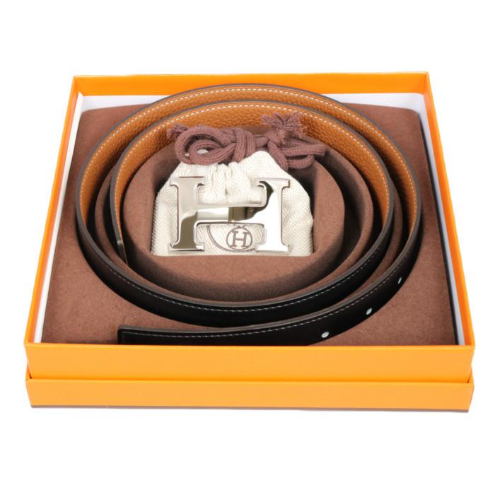 エルメスHERMESリバーシブルベルトブラックゴールドシルバー金具ボックスカーフトゴ90cmメンズ