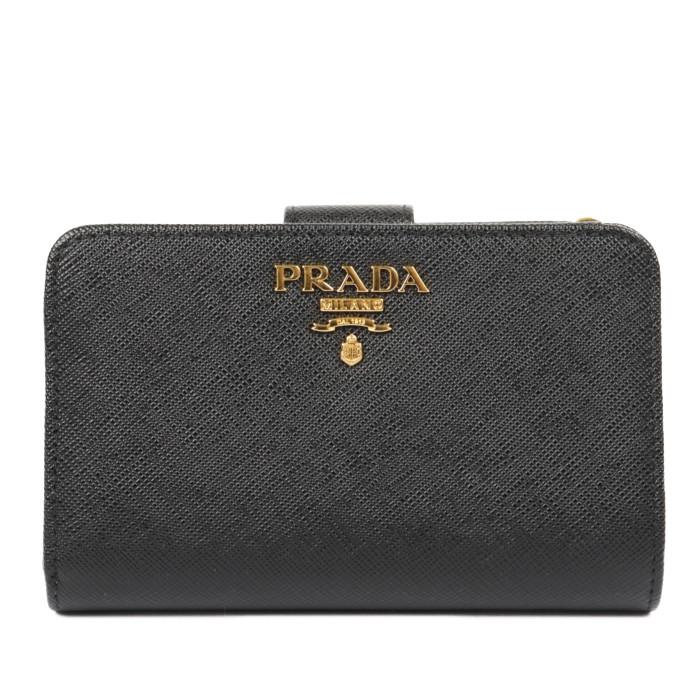 【送料無料!】プラダ PRADA 二つ折り財布 小銭入れ付き 1ML225 QWA F0002 ネロ レディース NERO