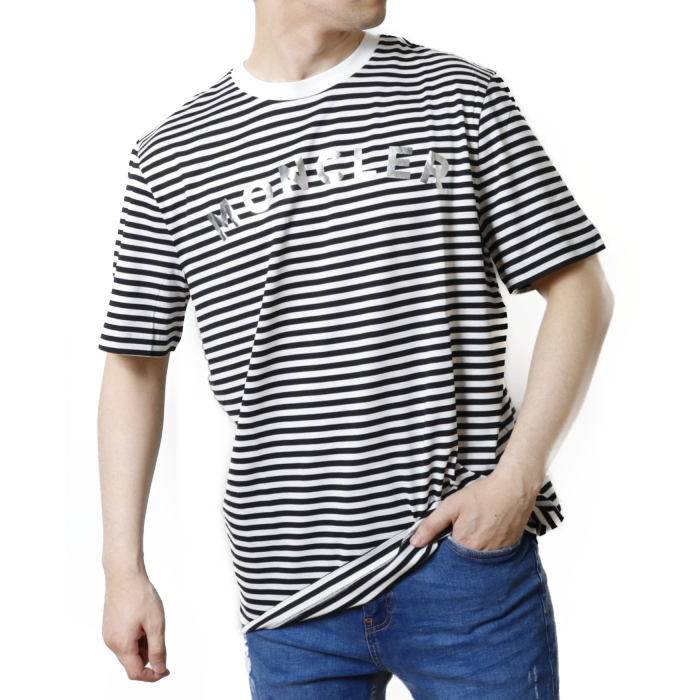 【送料無料!】モンクレール MONCLER メンズ 半袖 Tシャツ カットソー 8C7E0 8C7E010 829GR  ブラック【BLACK】