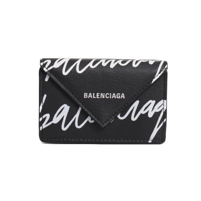【送料無料!】バレンシアガ BALENCIAGA 三つ折り財布 ミニ財布 PAPIER MINI WALLET ペーパーミニ 391446 0ID2N 1093 ブラック ロゴ メンズBLACK