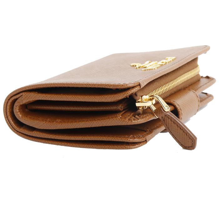 プラダ PRADA  小銭入れ付き 二つ折り財布 1ML018 QWA F0046 COGNAC コニャック レディース
