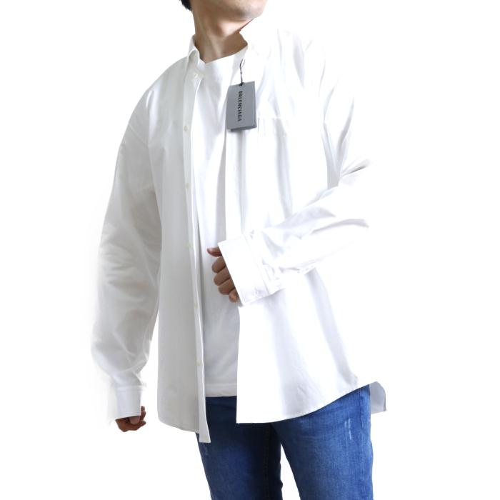 バレンシアガ BALENCIAGA メンズ 長袖 シャツ 642291 PYD18  ホワイト【WHITE】