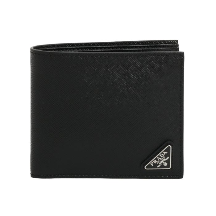 PRADA プラダ 二つ折り財布 2MO513 2DRM F0002 NERO ブラック イエロー メンズ サフィアーノ