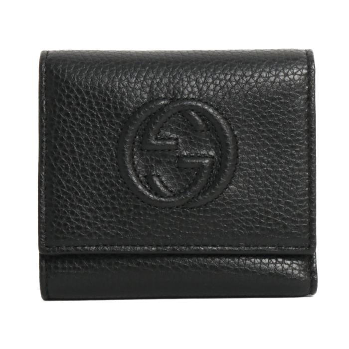 グッチ GUCCI 小銭入れ付き 三つ折り財布  レザー GGロゴ ソーホー SOHO 598207 A7M0G 1000 BLACK ブラック レディース