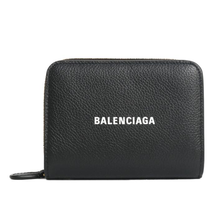 バレンシアガ BALENCIAGA 二つ折り コンパクトウォレット 650871 1IZIM 1090 BLACK ブラック レディース