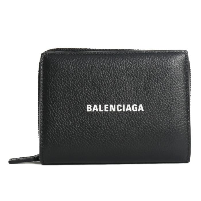 バレンシアガ BALENCIAGA 二つ折り コンパクトウオレット 650879 1IZI3 1090 BLACK ブラック レディース メンズ