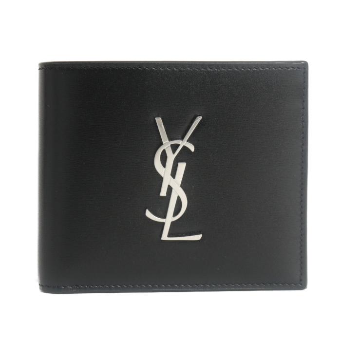 サンローラン SAINT LAURENT 2つ折り財布 Black Logo wallet 小銭入れ無し 453276 0SX0E 1000 ブラック メンズ