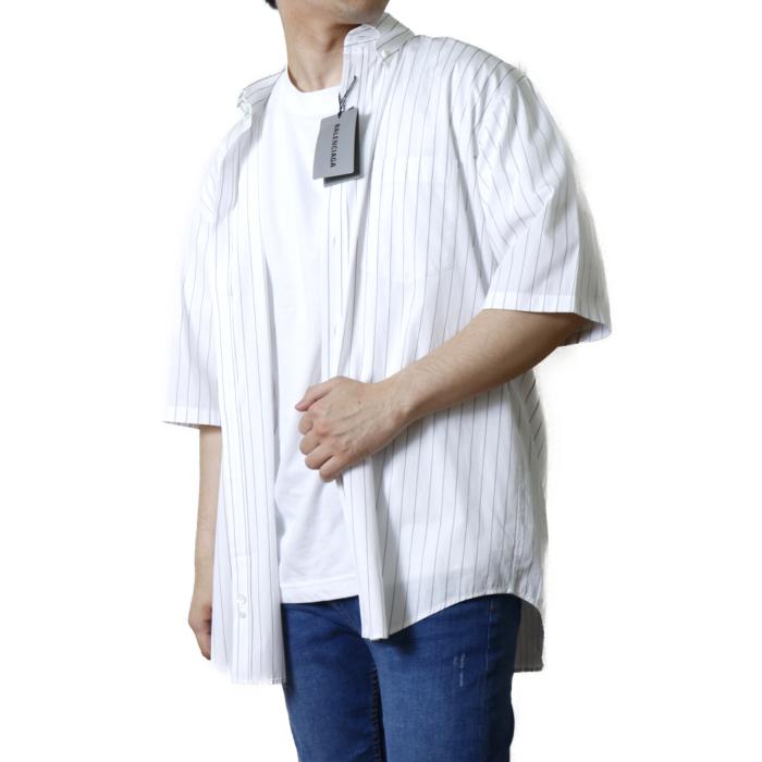 バレンシアガ BALENCIAGA メンズ 半袖 シャツ 621912 PIM35  ホワイト【WHITE】 サイズ【38】