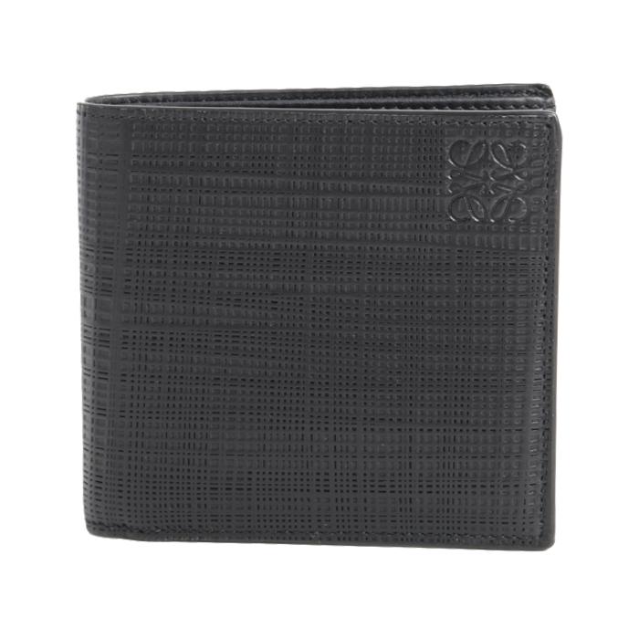 ロエベ LOEWE 小銭入れ付き 二つ折り財布 LINEN BIFOLD WALLET C525302X03 1100 ブラック メンズ