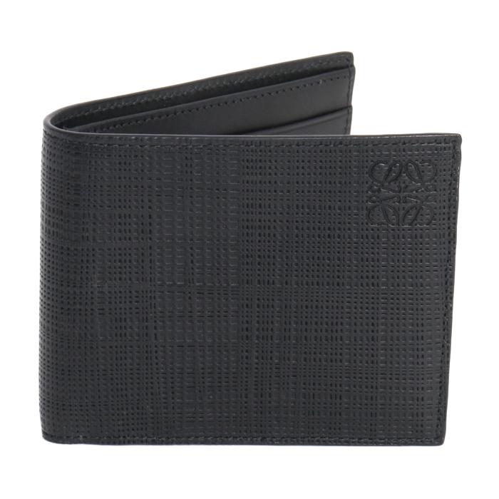 ロエベ LOEWE 二つ折り財布 アナグラム ロゴ レザー 101 88 M77 1100 ブラック メンズ