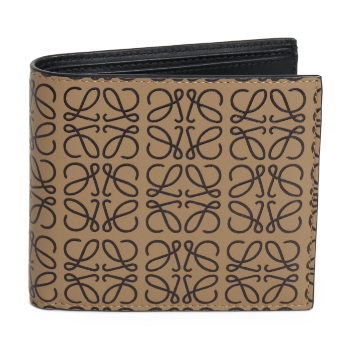 ロエベ LOEWE 二つ折り財布 BIFOLD WALLET ビフォールド ロゴ アナグラム 107 55 G302 3523 モカ ブラック メンズ