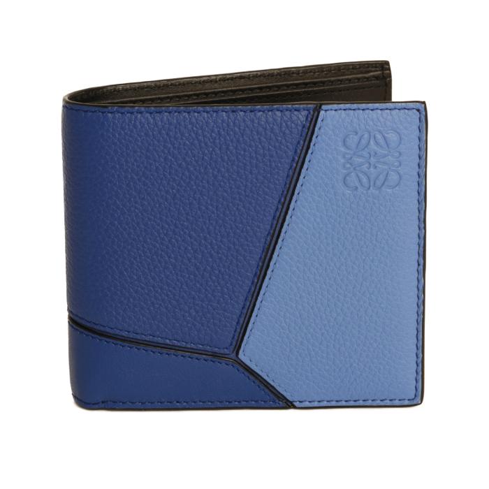 ロエベ LOEWE パズル PUZZLE 124 12 302 5586 レザー 二つ折り財布 ミニ財布 ブルー メンズ