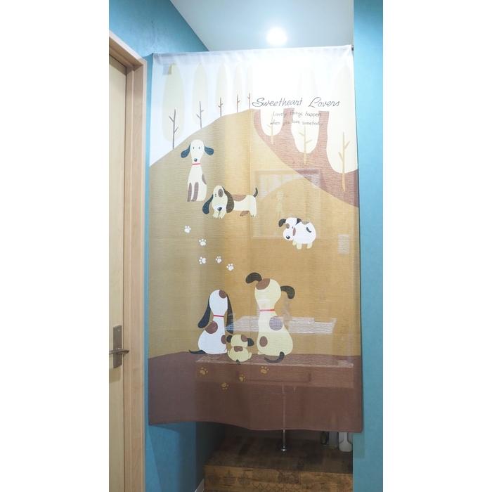 のれんラブリードッグN-243885x150cmウォッシャブルブラウンノレン暖簾おしゃれ和風