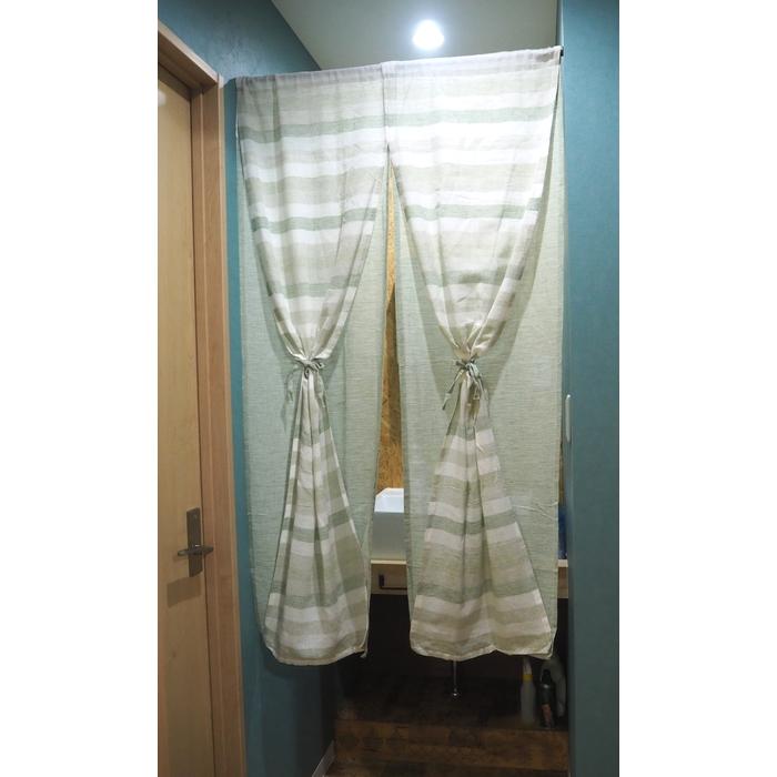 のれんカルール2重85x150cmボーダーグリーン綿100%ナチュラルやわらかノレン暖簾おしゃれ