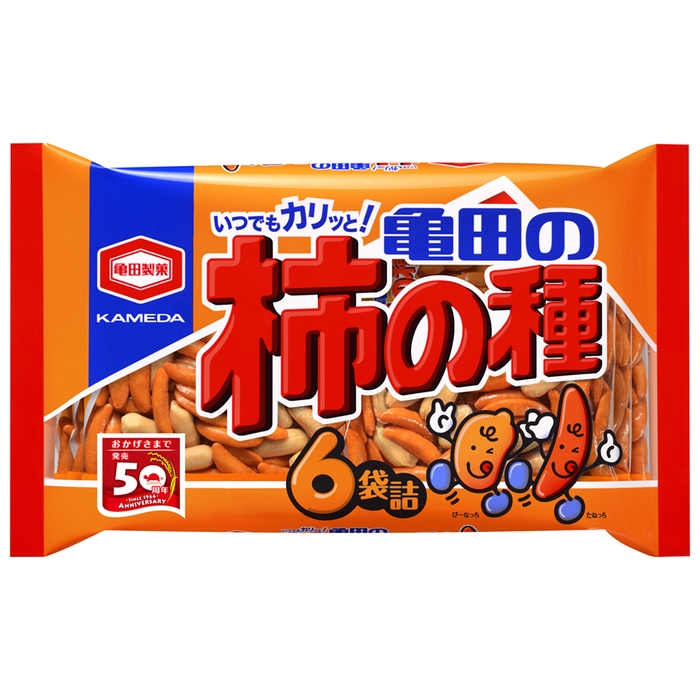 【TAKEYAスマイル便 対象品】亀田 フレッシュパック柿の種 6袋入り