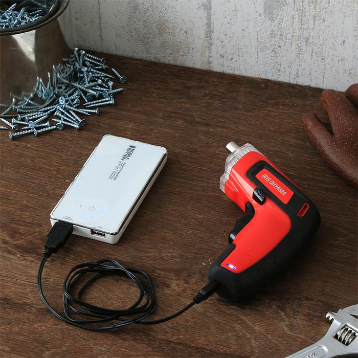 アイリスオーヤマ充電式電動ドライバーJDD351レッドコードレス