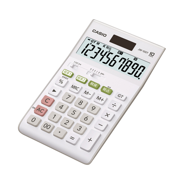 【メーカー再生品】CASIOカシオ電卓JW-100TN|10桁表示軽減税率W税率4971850087571