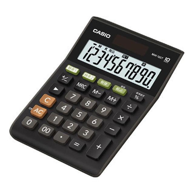 【メーカー再生品】CASIOカシオ電卓MW-100T-BK-Nブラックミニジャストタイプ