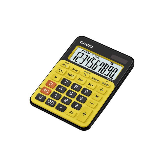 【メーカー再生品】CASIOカシオ電卓MW-C12A-BYスパイスイエローミニジャストタイプ
