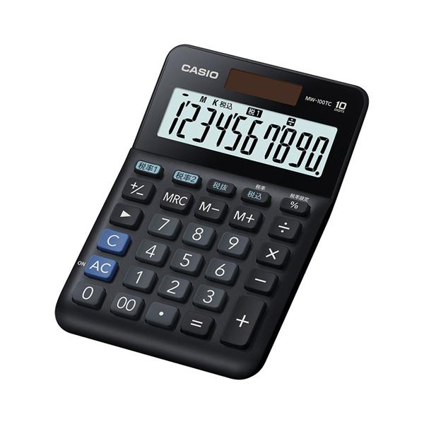 (レターパックライト・代引き不可) メーカー再生品 カシオ W税率電卓 MW-100TCBK-N ブラック 4549526608377 (2409916301023)