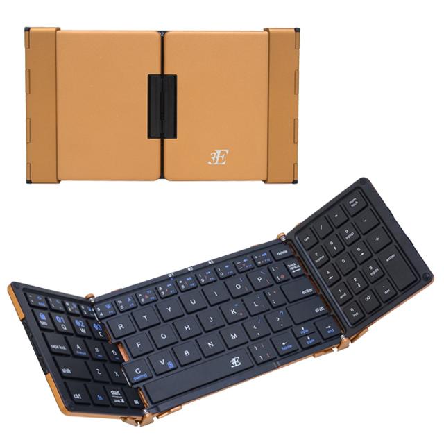 【お取り寄せ】3EBluetooth3つ折りタイプキーボード3E-BKY7-BBブラック×ブラウンゴールドケース付属