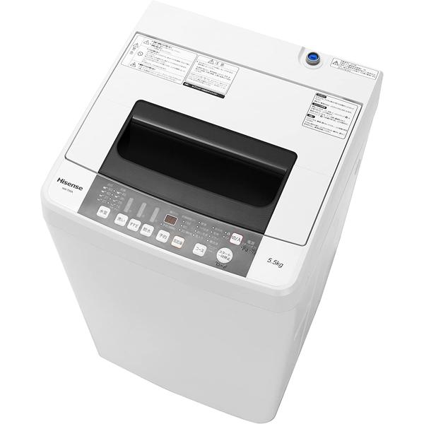 基本設置無料 東京23区近郊限定配送 ハイセンス 全自動洗濯機 HW-T55A-W 5.5kg ホワイト
