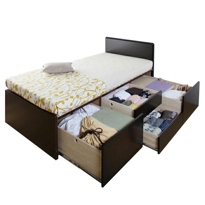 【お取り寄せ】国産すのこベッド フレームのみ シングルサイズ 3BOXチェストベッド フラットタイプ