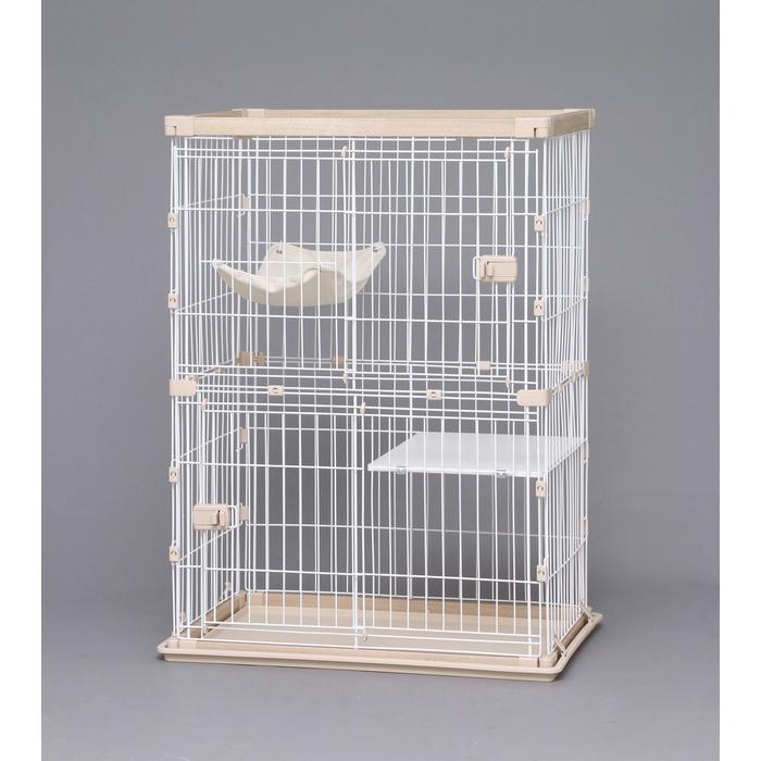 【直送品】アイリスオーヤマPWCR-962ウッディキャットケージ2段ナチュラル猫用ゲージトレー付