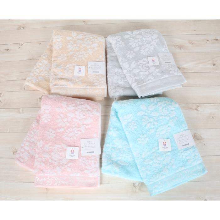 今治タオル バスタオル 約60x120cm ミリオンブーケ 綿100% 日本製 国産 4色 ピンク ブルー ベージュ グレー