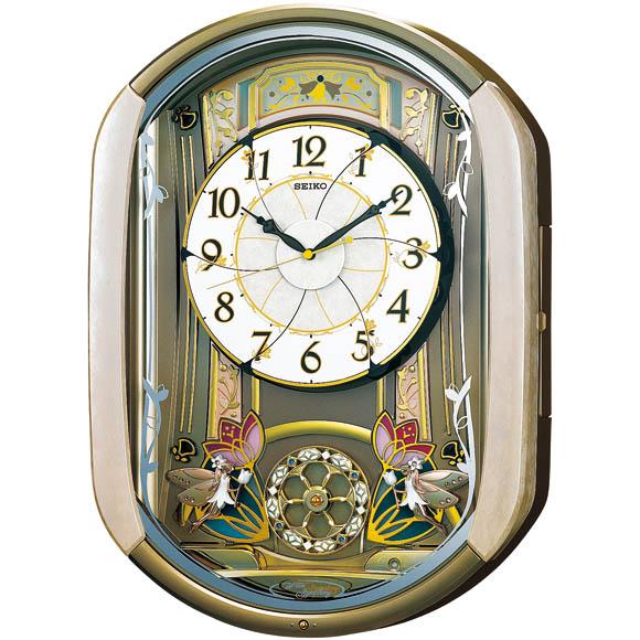 セイコーRE567G電波掛時計【アナログ正時からくり&メロディSEIKO】