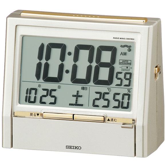 セイコーDA206G電波目覚まし時計【デジタル音声報時温度/湿度SEIKO】