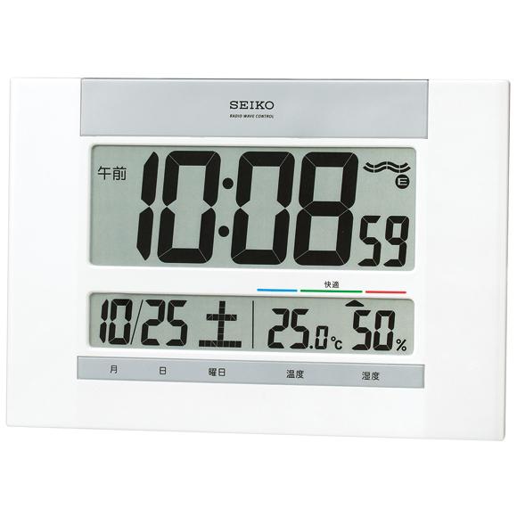 セイコーSQ429W電波掛時計【デジタルプラスチック枠温湿度表示掛置兼用SEIKO】
