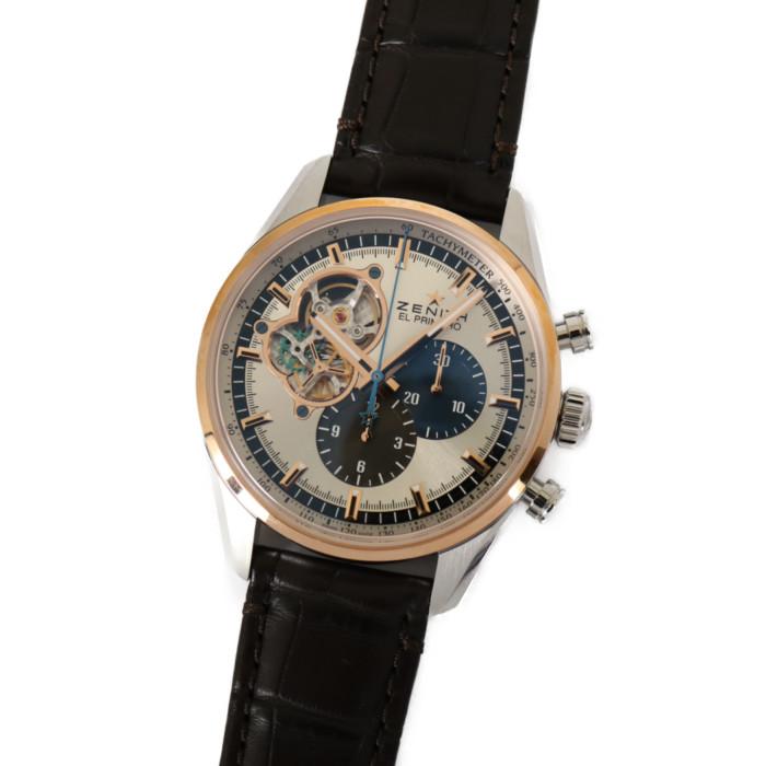 ゼニス51.2080.4061/69.C494メンズ腕時計エル・プリメロ|ZENITHELPRIMERO男性人気ブランドかっこいいおしゃれ自動巻クロノグラフレザーシルバーブラウンブルー