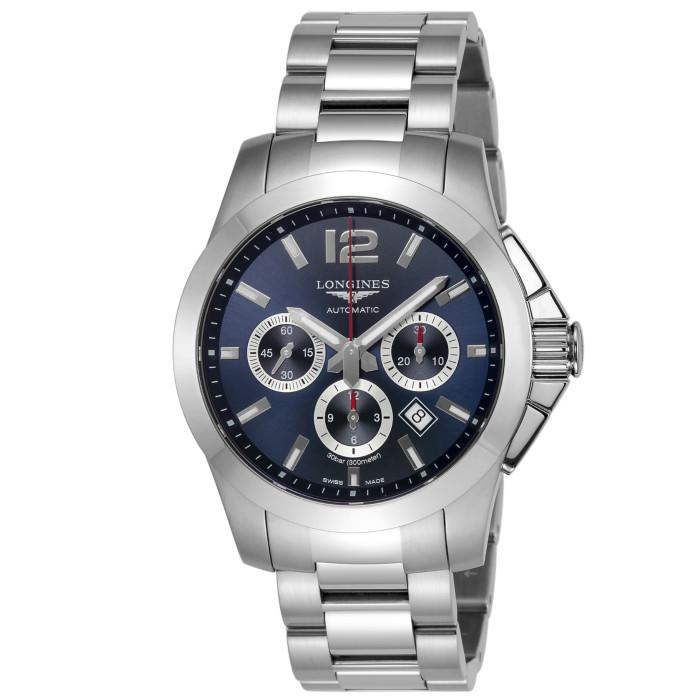 ロンジンL3.801.4.96.6メンズ腕時計コンクエスト LonginesConquestL38014966男性人気ウォッチシルバーブルークロノグラフOMLOPD