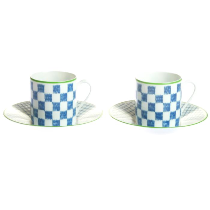 エルメス ウォークインザガーデン コーヒーカップ&ソーサー ブルー ペア